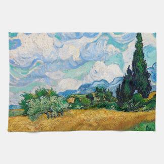 Linge De Cuisine Champ de blé avec des cyprès par Vincent van Gogh