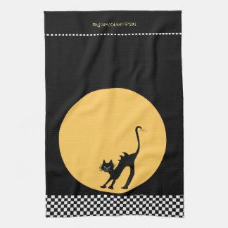Linge De Cuisine Chat noir de courbement et pleine lune