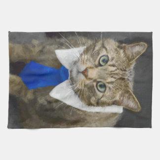 Linge De Cuisine Chat tigré brun aux yeux verts mignon portant une