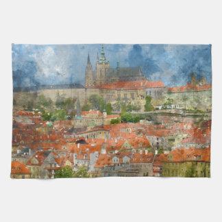Linge De Cuisine Château de Prague avec le pont célèbre de Charles