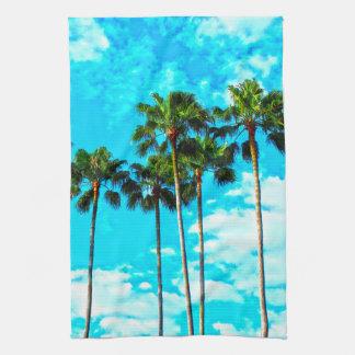 Linge De Cuisine Ciel bleu de palmiers tropicaux frais