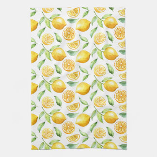 Linge De Cuisine Citrons et feuille d'aquarelle  