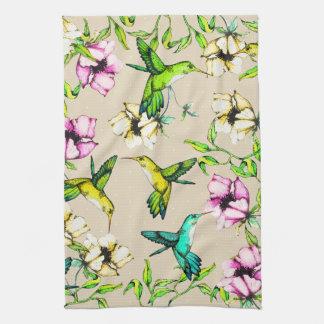 Linge De Cuisine Colibris et fleurs enchantés d'aquarelle de jardin