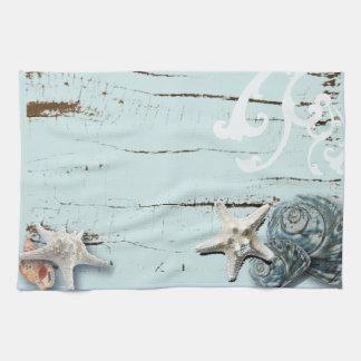 Linge De Cuisine Coquillages bleus d'étoiles de mer d'aqua en bois