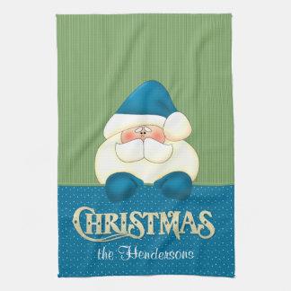 Linge De Cuisine Cuisinier bleu et vert de Noël de Père Noël