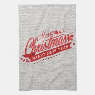 Linge De Cuisine Décor rouge et blanc d'énonciations de Joyeux Noël