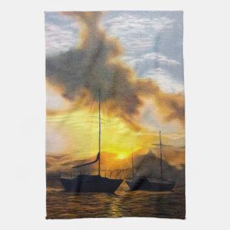Linge De Cuisine Deux voiliers dans un beau coucher du soleil