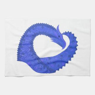 Linge De Cuisine Dragon bleu de coeur sur le blanc