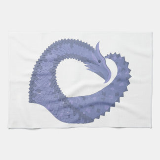 Linge De Cuisine dragon Bleu-gris de coeur sur le blanc