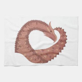 Linge De Cuisine Dragon de coeur de Brown sur le blanc