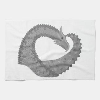 Linge De Cuisine Dragon gris de coeur sur le blanc
