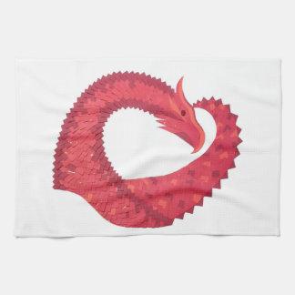 Linge De Cuisine Dragon rouge de coeur sur le blanc