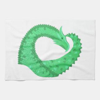 Linge De Cuisine Dragon vert de coeur sur le blanc