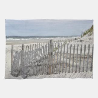 Linge De Cuisine Dunes de sable et barrière de plage