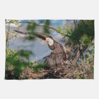 Linge De Cuisine Eagle chauve partant du nid
