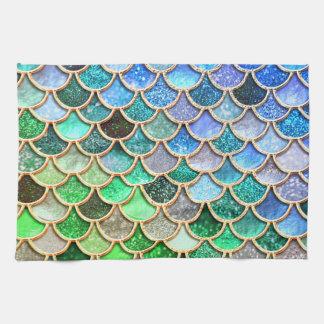 Linge De Cuisine Échelles brillantes vert-bleu de sirène de parties
