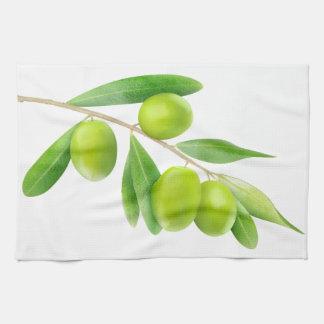 Linge De Cuisine Embranchez-vous avec les olives vertes