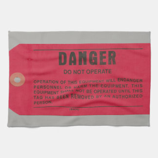 Linge De Cuisine Étiquette du danger des électriciens militaires