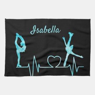 Linge De Cuisine Figure Skater Towel blade heartbeat frozen blue