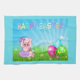Linge De Cuisine Fille heureuse de Pâques porcine