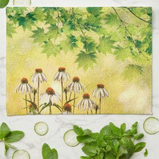 Linge De Cuisine Fleurs blanches lumineuses et gaies d'echinacée