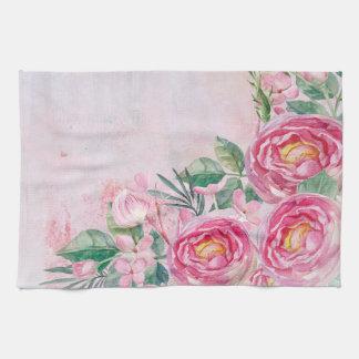Linge De Cuisine Fleurs roses de roses de Greatings-Pastell de