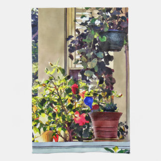 Linge De Cuisine Fleurs sur le porche