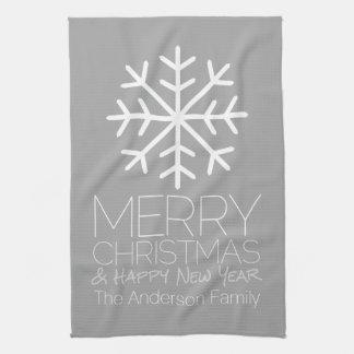 Linge De Cuisine Flocon de neige moderne de Joyeux Noël - gris