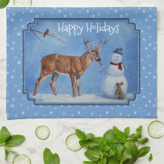 Linge De Cuisine Flocons de neige de Noël de cerfs communs et de
