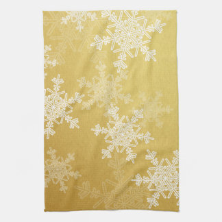 Linge De Cuisine Flocons de neige Girly de Noël d'or et blanc