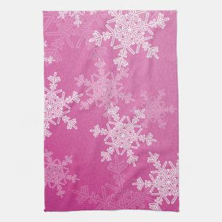 Linge De Cuisine Flocons de neige Girly de Noël rose et blanc