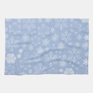 Linge De Cuisine Flocons de neige givrés (chutes de neige) - blanc