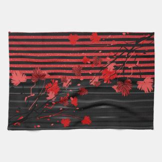 Linge De Cuisine Floral rouge et noir d'art déco