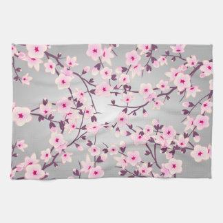 Linge De Cuisine Gris rose de fleurs de cerisier