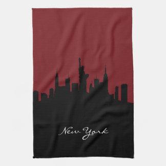 Linge De Cuisine Horizon | de New York rouge foncé