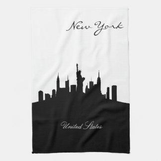 Linge De Cuisine Horizon noir et blanc de New York