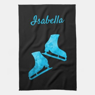 Linge De Cuisine Ice skate towel figure skates Black Blue ice