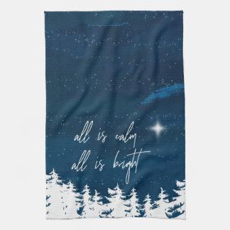 Linge De Cuisine La nuit étoilée toute est calme que tout est Noël