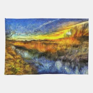 Linge De Cuisine La rivière Van Gogh de coucher du soleil