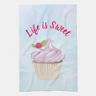 Linge De Cuisine La vie est petit gâteau rose doux