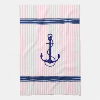 Linge De Cuisine L'ancre nautique bleue de bateau barre l'accent