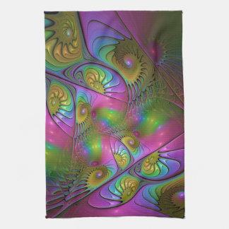 Linge De Cuisine L'art abstrait moderne lumineux coloré de fractale