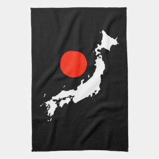 Linge De Cuisine Le contour et le rouge de carte du Japon entourent