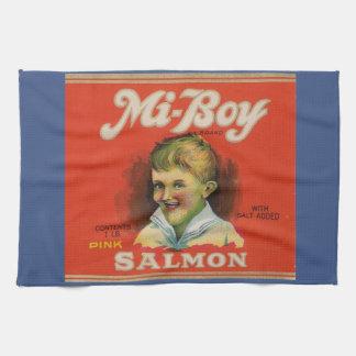 Linge De Cuisine le saumon de rose de MI-Garçon des années 1930