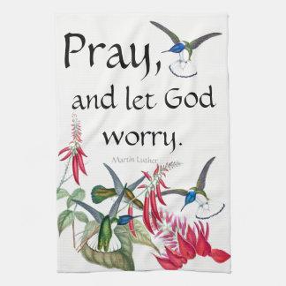 Linge De Cuisine Les colibris prient ont laissé Dieu inquiéter des