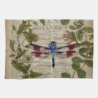 Linge De Cuisine libellule vintage moderne de feuille botanique