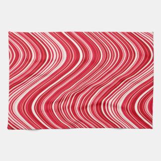 Linge De Cuisine Lignes onduleuses en rouge et blanc