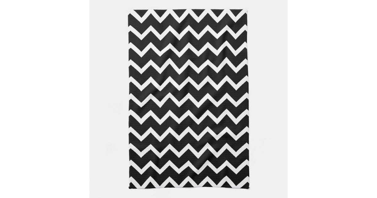 Linge de cuisine mod le de zigzag noir et blanc for Modele de cuisine noir et blanc
