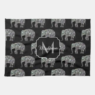 Linge De Cuisine Monogramme argenté coloré scintillant d'éléphant