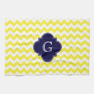 Linge De Cuisine Monogramme blanc jaune de Quatrefoil de bleu